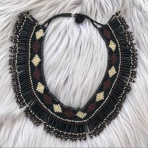 Jewelry - Beaded Collar Bib Necklace Black & Brown